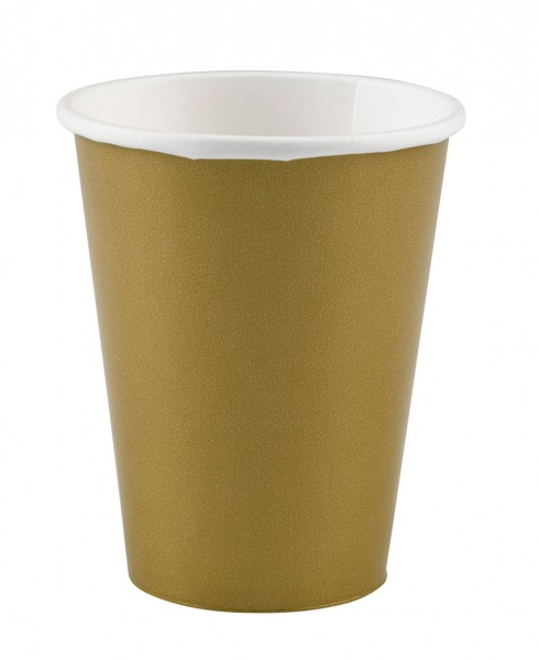 8 party buffet paper cups gold 266ml