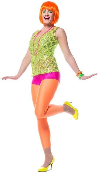 Neonowo-zielony top z falbanką dla kobiet