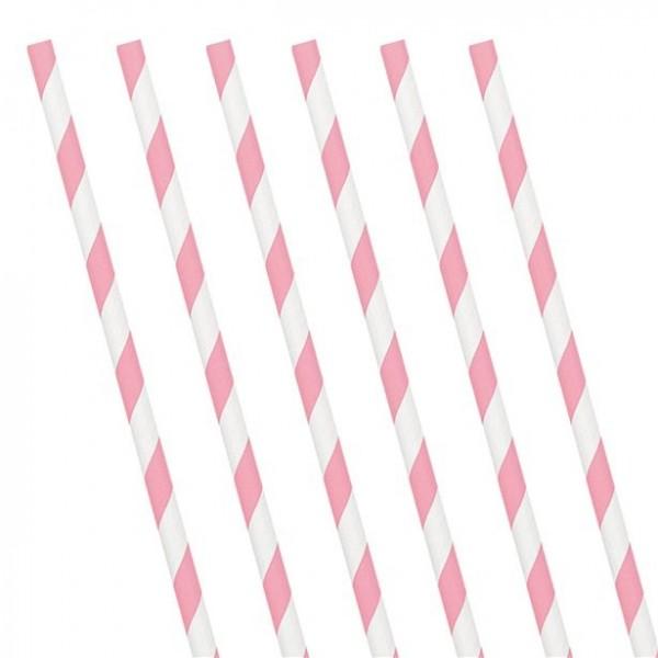 24 słomki papierowe w paski jasnoróżowe 19 cm