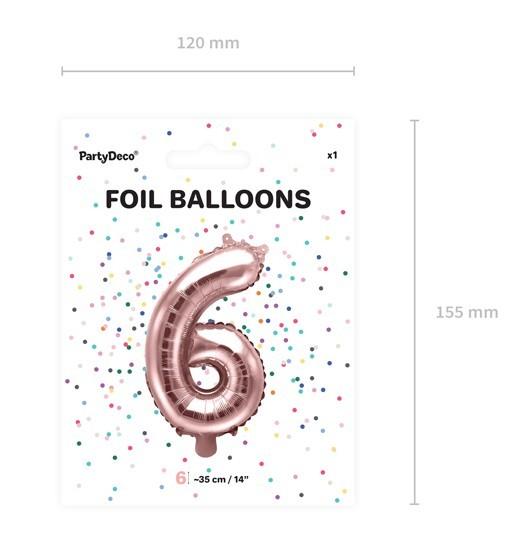 Metallic Zahlenballon 6 roségold 35cm 4