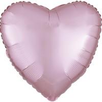 Satin Herzballon pastellrosa 43cm