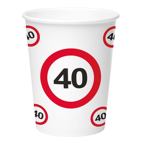 8 señales de tráfico 40 vasos de papel 350ml