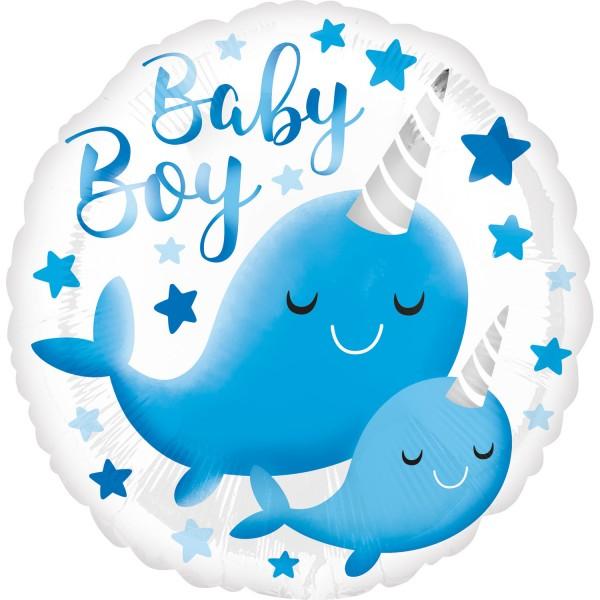 Baby Boy Folienballon Narwal 45cm