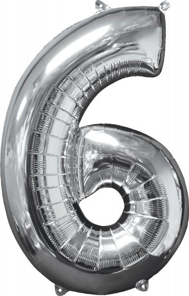 Ballon aluminium numéro 6 argent 66cm