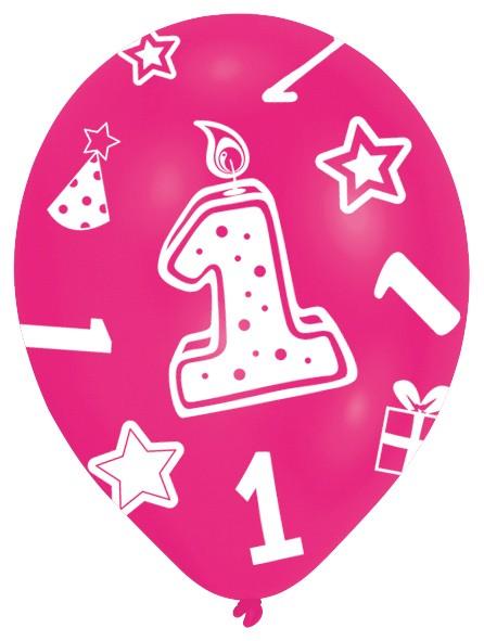 6 globos rosas 1er cumpleaños niña 28 cm