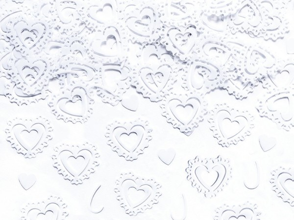 Scattered decorative hearts white 15g