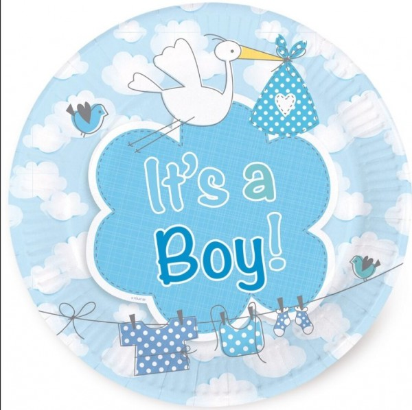 8 Pappteller Adebar Its A Boy 1