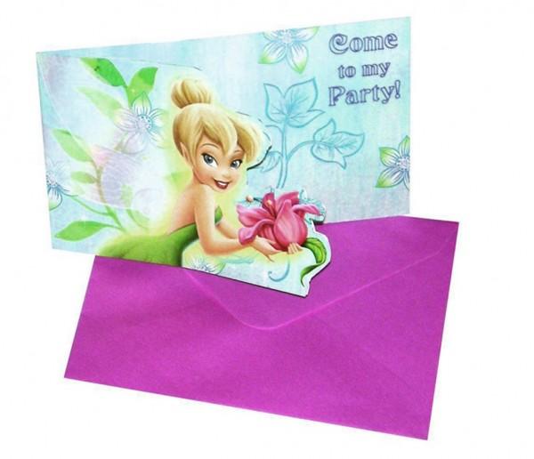 6 cartes d'invitation magique de fleur de fée Clochette