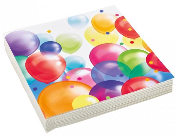 20 Balloon Carnival napkins 33cm