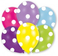 6 Luftballons bunt mit Punkten 27,5 cm