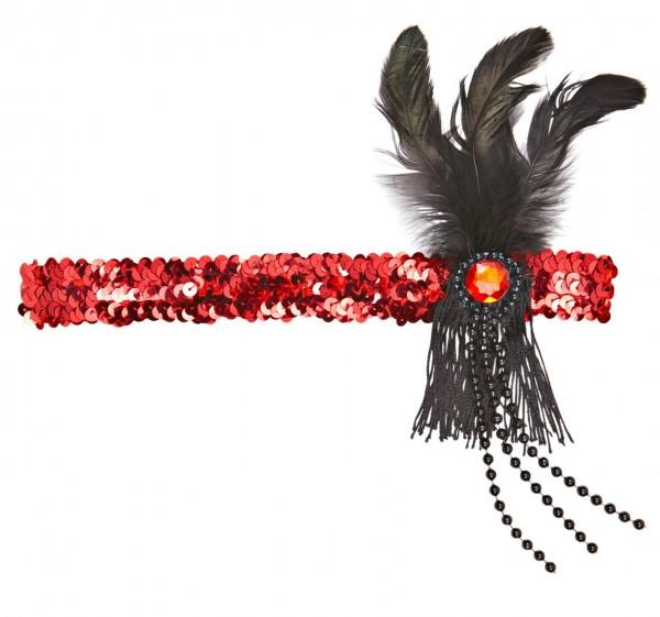 Charleston Pailetten Stirnband Rot