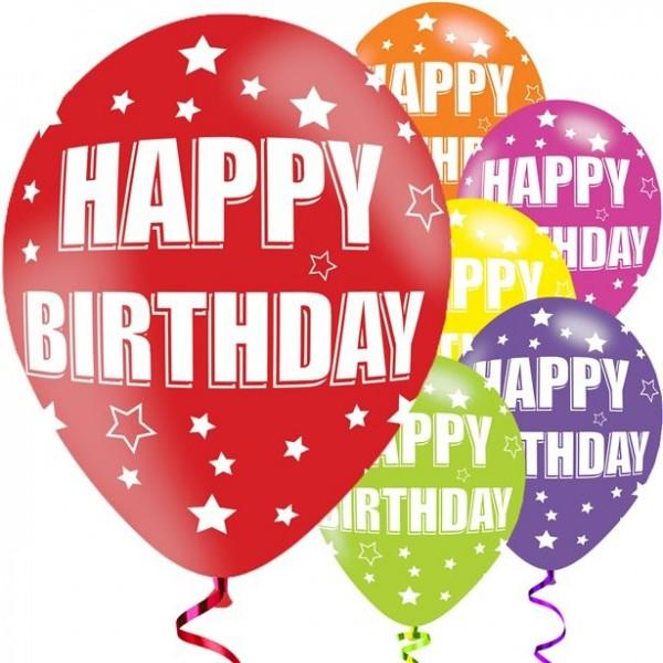 6 Happy Birthday Sternchen Ballons 28cm