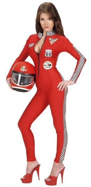 Charmant costume de pilote de course rouge
