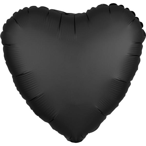 Globo corazón de raso noble negro 43cm