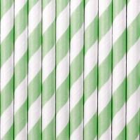 10 gestreifte Papier Strohhalme mintgrün 19,5cm