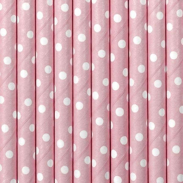 10 stiplede papirstrå lyserøde 19,5 cm