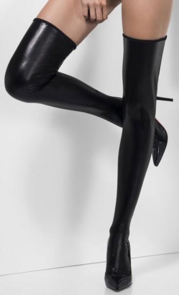 Sexy Schwarze Lack Strumpf