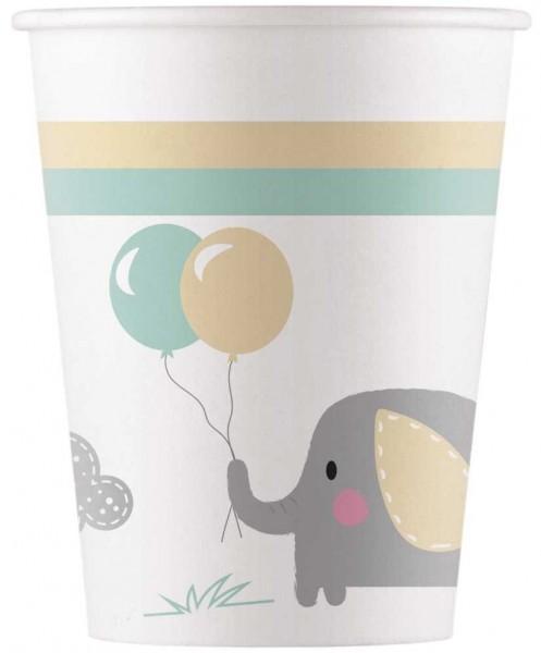 8 vasos de papel elefante bebé 200ml
