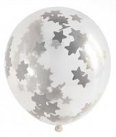 Ballon 3er Set mit Sterne Konfetti und Quastenpendel 30cm