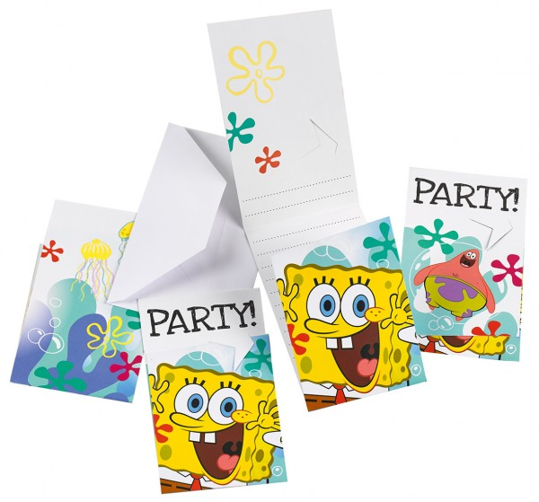 6 SpongeBob Party Einladungskarte Jelly Fish Fun