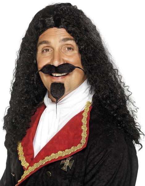 Schwarze Musketier Perücke Mit Bart