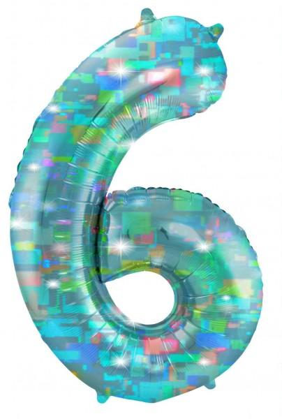 Holografische Zahl 6 aqua 1,01m
