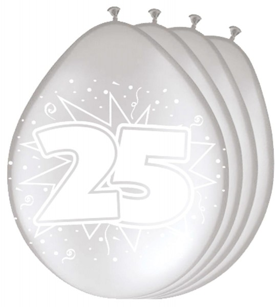 8 silver latex balloons number 25