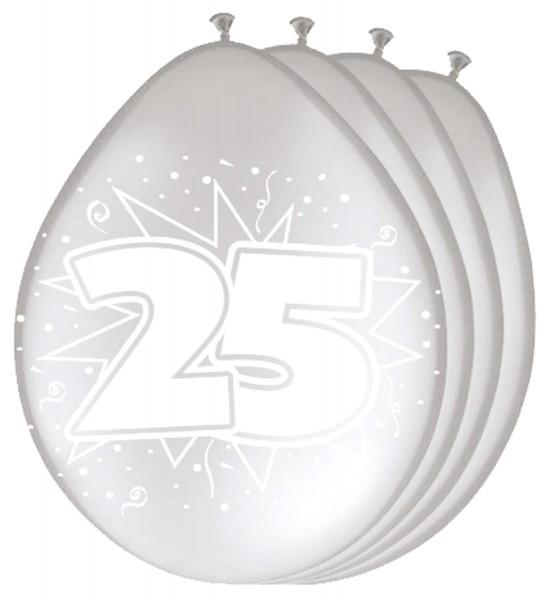 8 palloncini in lattice argento numero 25