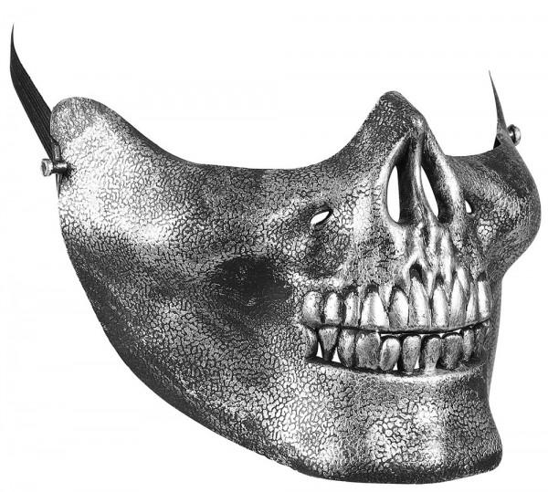 Halbmaske Metallic Kinnmaske Schädel