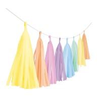 Shiny Pastell Rainbow Fransengirlande 3m