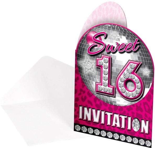 8 Blingbling Sweet 16 Einladungskarten