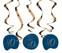 40. Geburtstag Hängedeko 5 Stück Elegant blue
