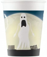 8 Halloween Scary Moon Pappbecher 200ml