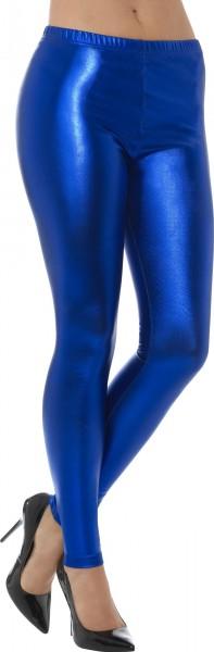 Blauwe metallic legging