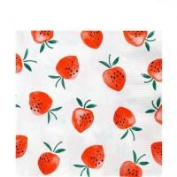20 Erdbeer Servietten 33x33cm