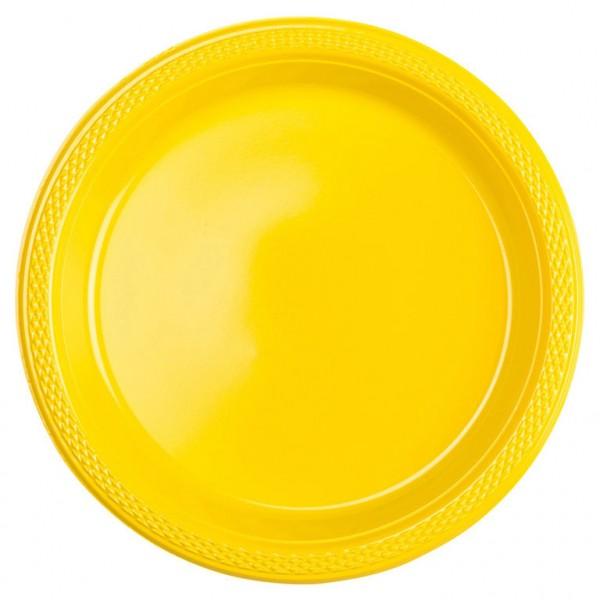 10 assiettes en plastique Partytime jaune 23cm