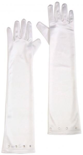 White glamor party gloves for children 41cm