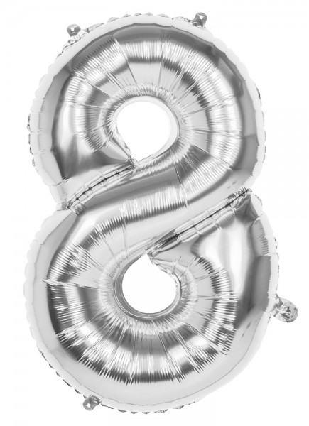 Folienballon Zahl 8 silber metallic 36cm