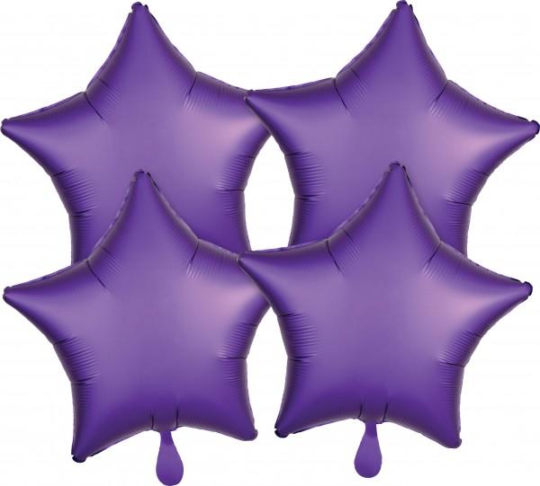 4 Lila Satin Sternballons