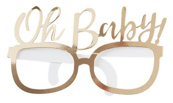 8 gold Oh Baby party glasses