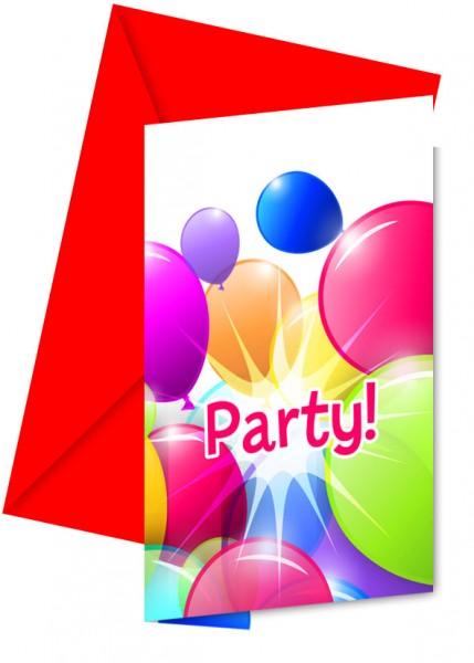 6 Rising Balloon Party Einladungskarten