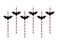 6 Fledermaus Strohhalme 24cm rot
