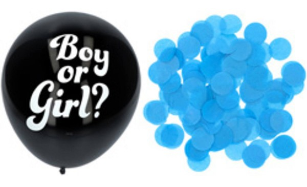Balloon set of 3 black with blue confetti 41cm