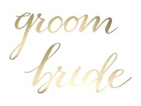 Stuhlschilder Groom Bride Gold Metallic
