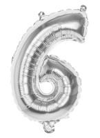 Folienballon Zahl 6 silber metallic 36cm