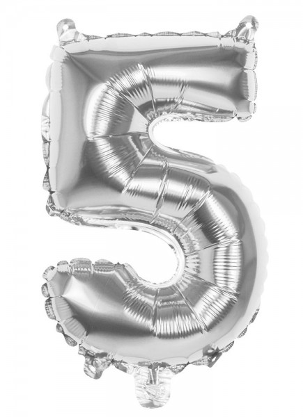 Foil balloon number 5 silver metallic 36cm