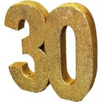 Goldene Zahl 30 Tischdeko glitzernd 20cm