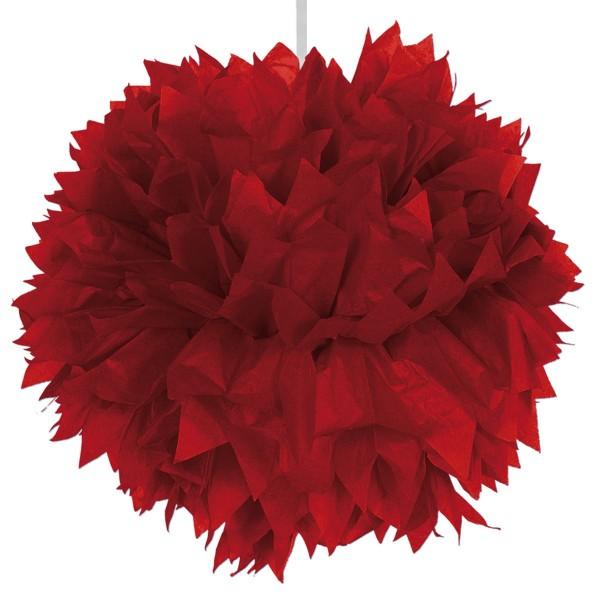 Pompon en papier rouge 30cm