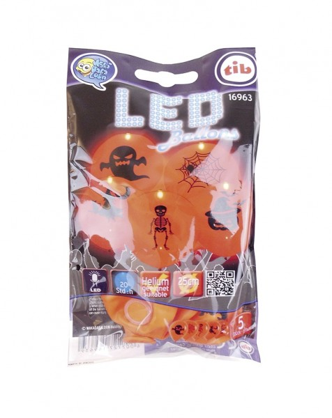 5 Halloween LED balloons ghost night 23cm