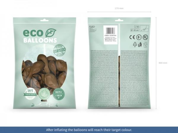 100 Eco Pastell Ballons hellbraun 30cm